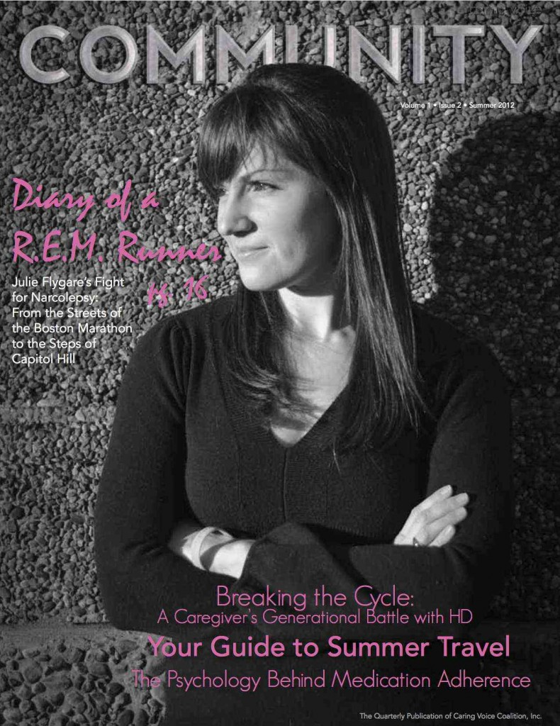 Community cover Summer 2012 JPEG reduced 790x1024 Julie Flygare Writes Cover Narcolepsy Story for Caring Voice Coalition Community Magazine