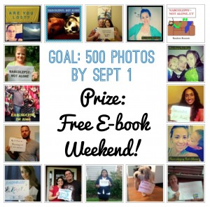 narcolepsy not alone 500 goal prize 300x295 Can We Reach 500 Photos by Sept 1st? Prize: Free E Books for All!