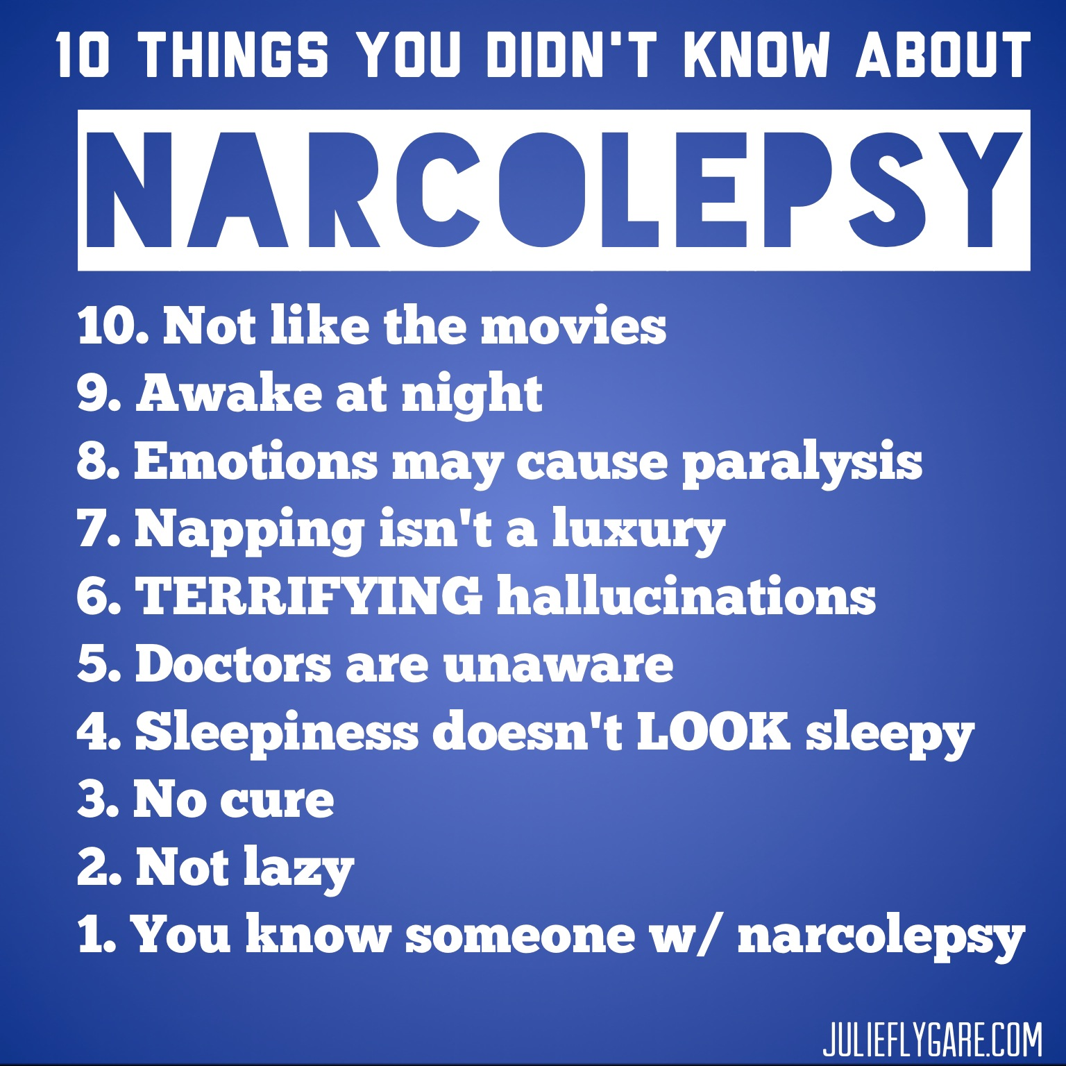 things you didn t know about narcolepsy top ten things you didn t know about narcolepsy list julie flygare narcolepsy spokesperson