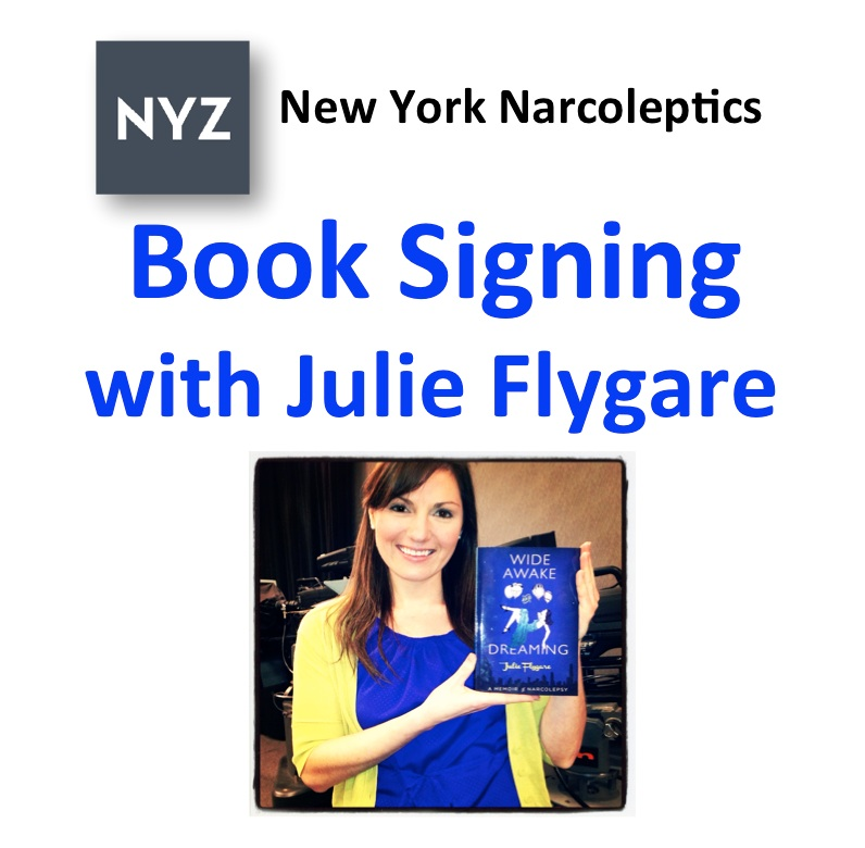 narcolepsy memoir julie flygare wide awake and dreaming book signing event nyc july 13 2014