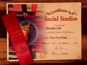 Daisha First Place Certificate Social Studies
