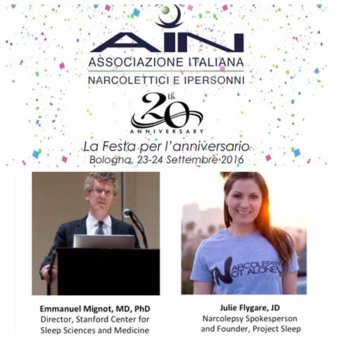 julie flygare dr emmanuel mignto italian narcolepsy organization speaking engagement meeting